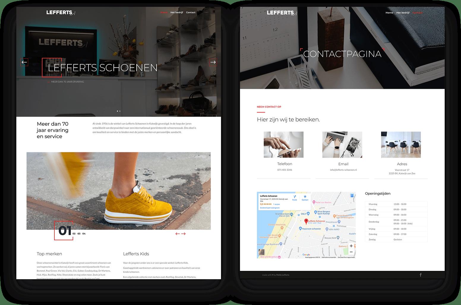 Realisatie website Lefferts Schoenen | lefferts schoenen schermen 3